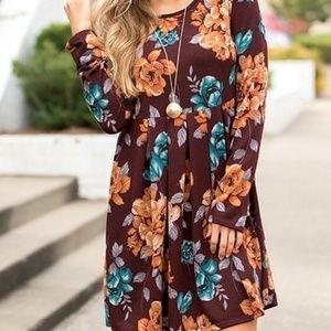 Floral Print Long Sleeve Swing Pleated Dress 🌟